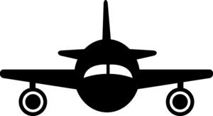 Plane Silhouette Clipart Image.
