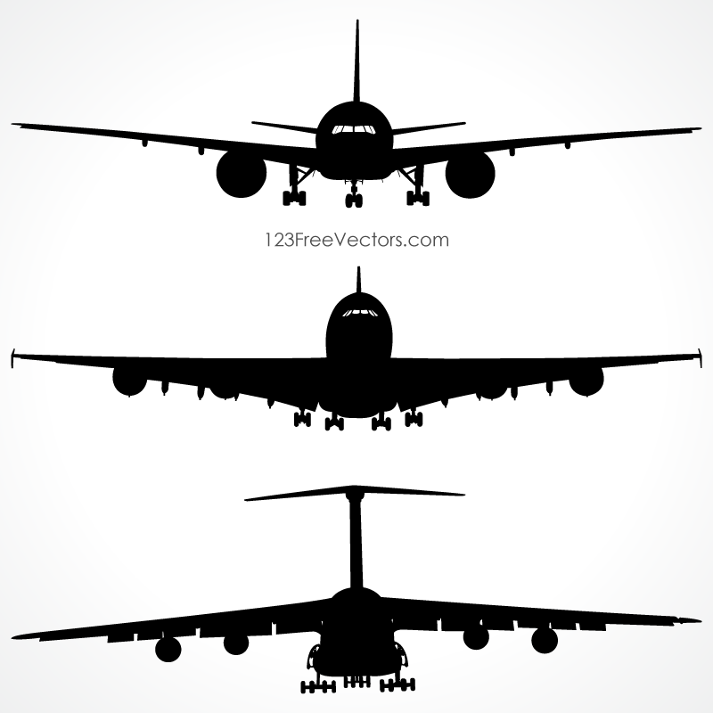 Airplanes Silhouette Front View Vector Free.