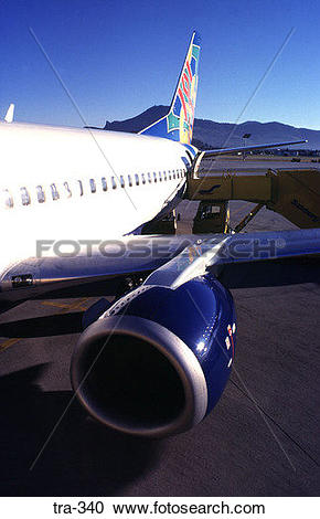 Stock Photography of View along Fuselage of Colourful Aeroplane.