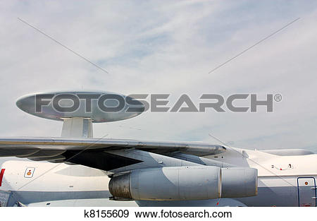 Stock Photograph of Wings and fuselage the militar aircraft.