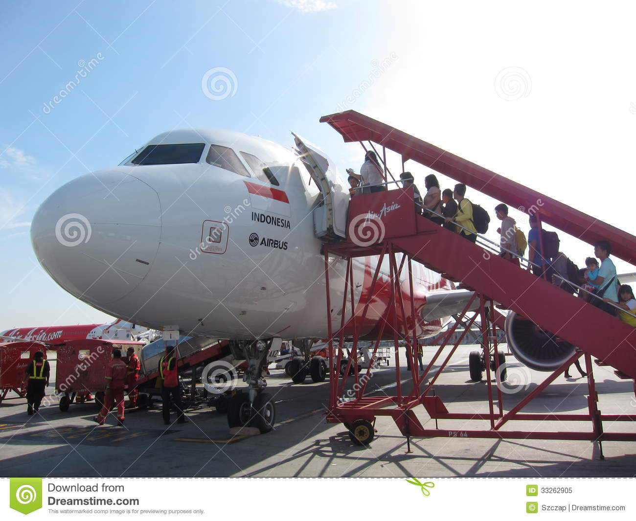 Passangers Boarding Air Asia Plane Editorial Image.