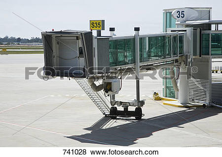 Pictures of Passenger boarding bridge at an airport 741028.