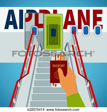 Clipart of Vector aircraft boarding bridge concept with passport.