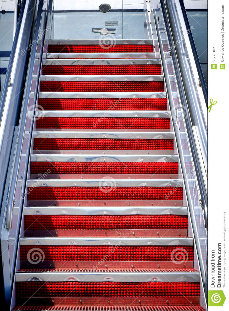 Air Stairs Plane Mobile Stairway Steps To Aircraft Stock Photo.