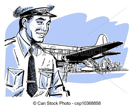 Stock Illustrations of A vintage illustration of a pilot and.