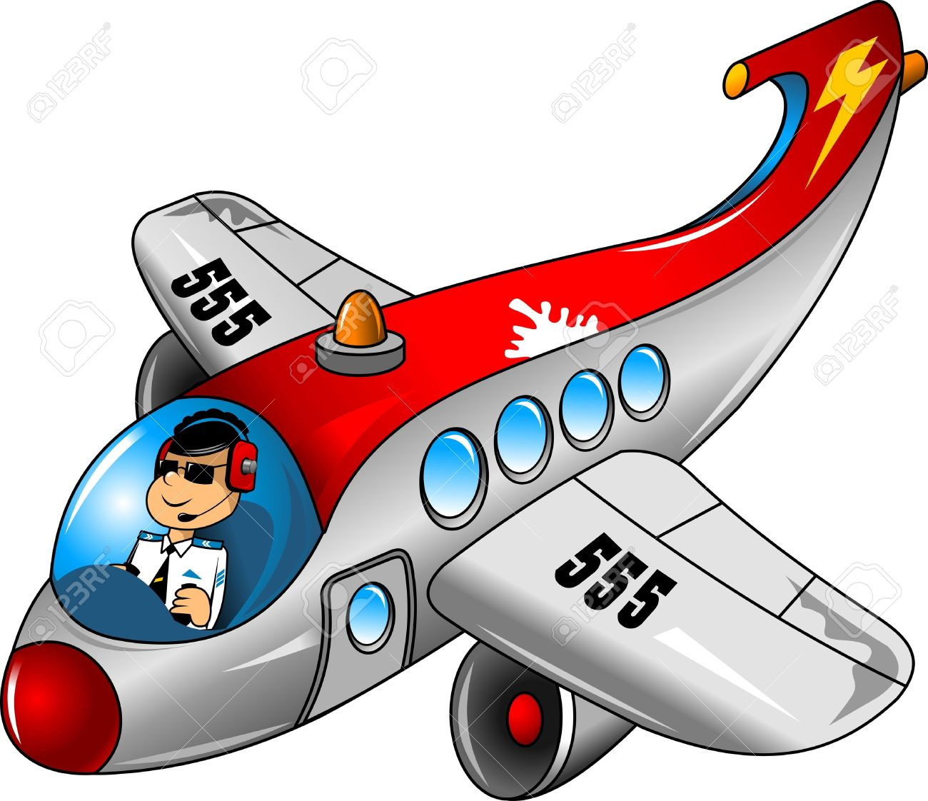 Fun On A Beautiful Airplane Pilot Royalty Free Cliparts, Vectors.