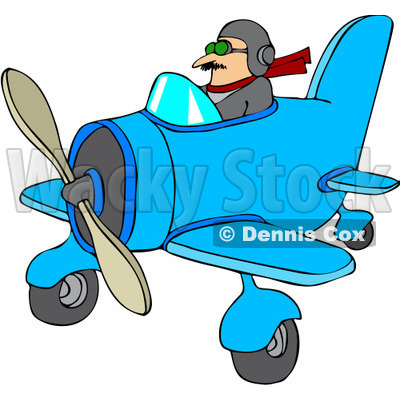 Free Vector Clip Art Illustration of a Pilot Flying A Little Plane.