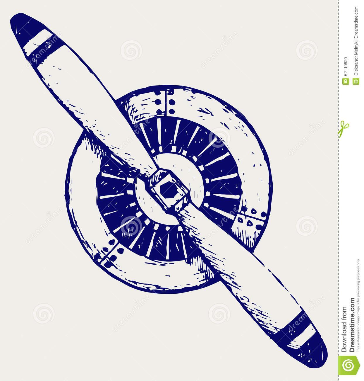 Aircraft Propeller Stock Vector.