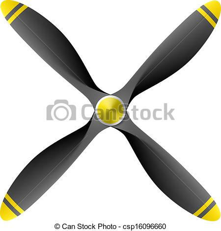 Clip Art Vector of Airplane propeller with 4 blades csp16096660.