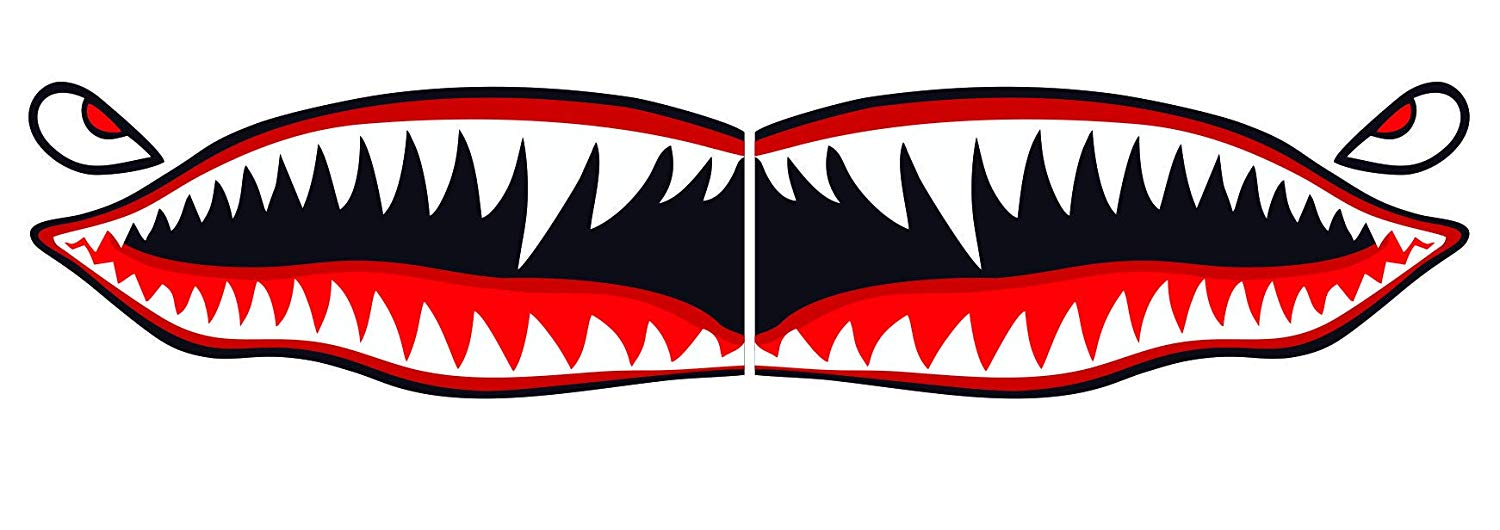 "Flying Tigers shark teeth decal sticker 3"" tall x 7"" long WWII Military  Airplane."
