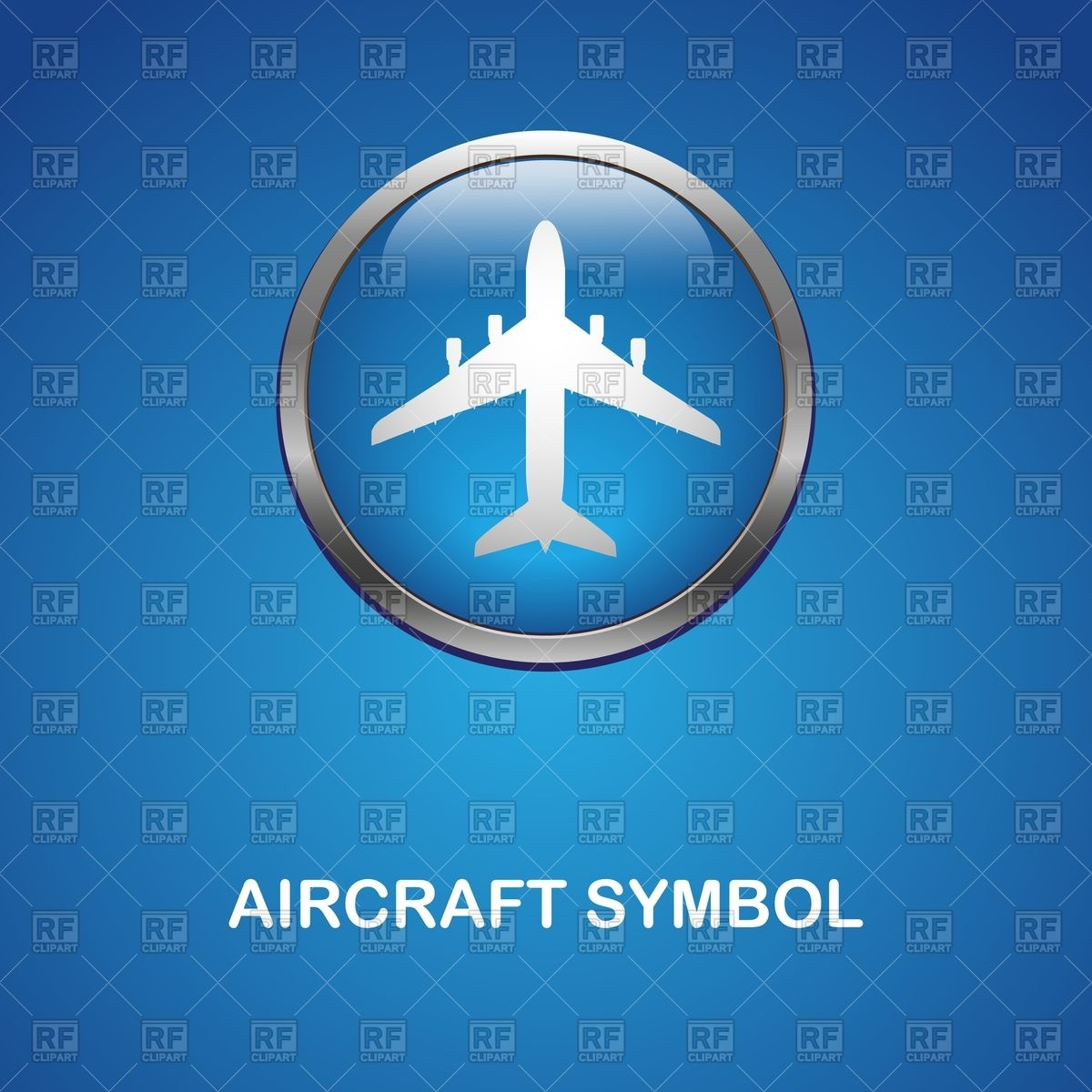Airplane on round glossy icon with metal edging.