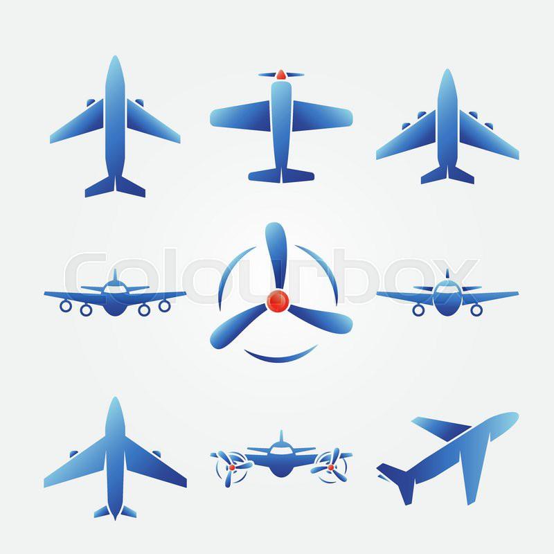 Plane blue icons.