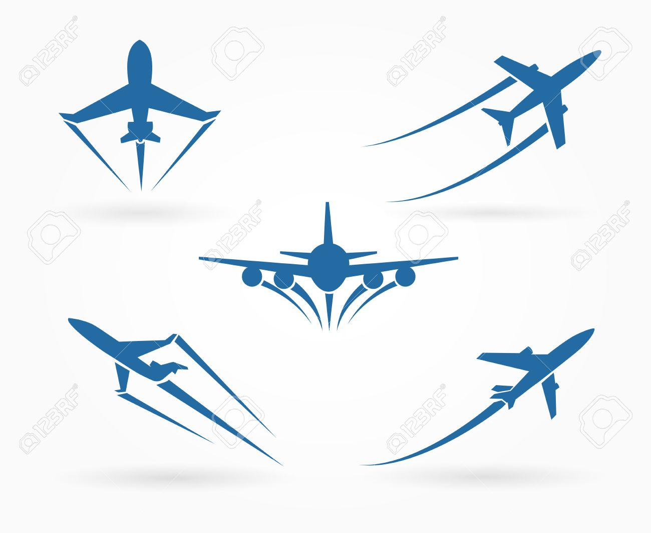 Flying up airplane icons. Takeoff plane symbol. Vector illustration.