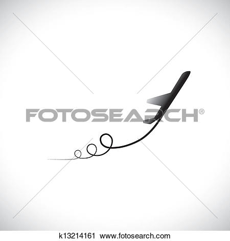 Clipart of Illustration of airplane, sky with clouds & world in.