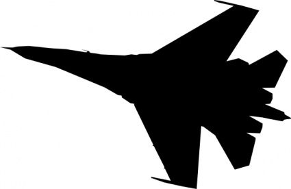 Airplane Fighter Silhouette clip art vector, free vectors.