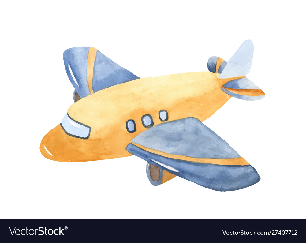 Watercolor cute cartoon airplane clipart.