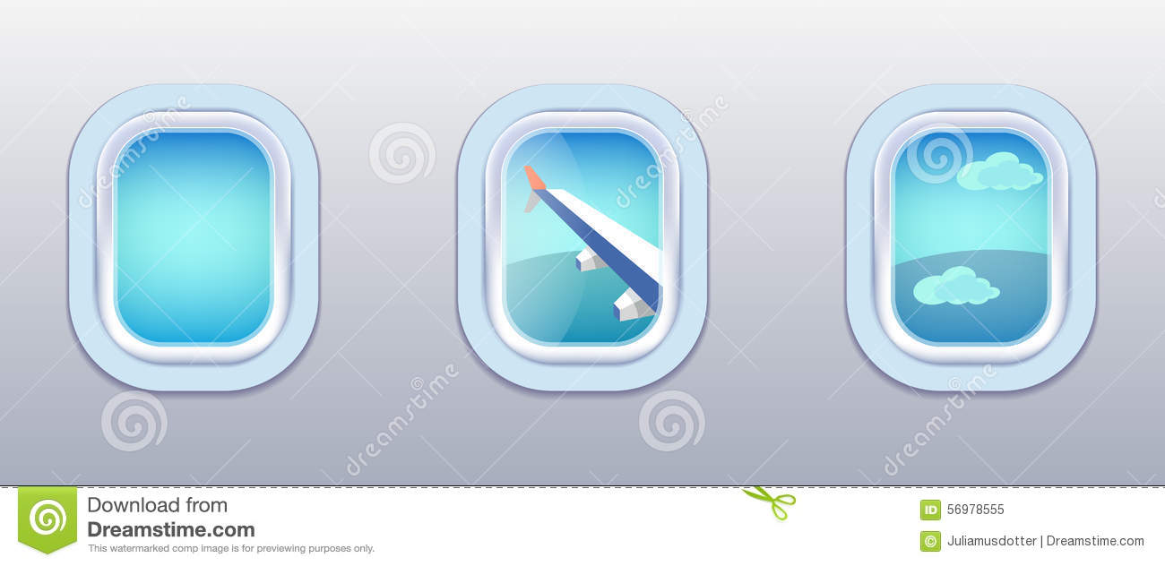 Airplane Windows Stock Images.