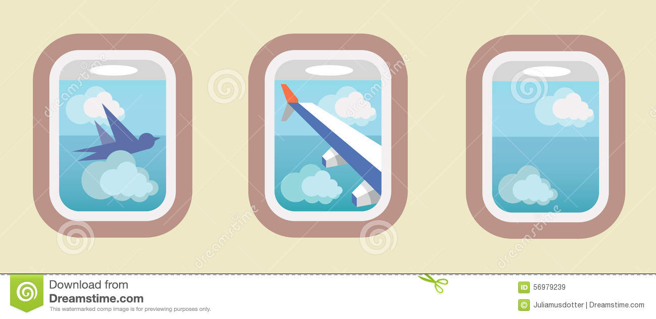 Aircraft Windows, Airplane Windows Stock Vector.