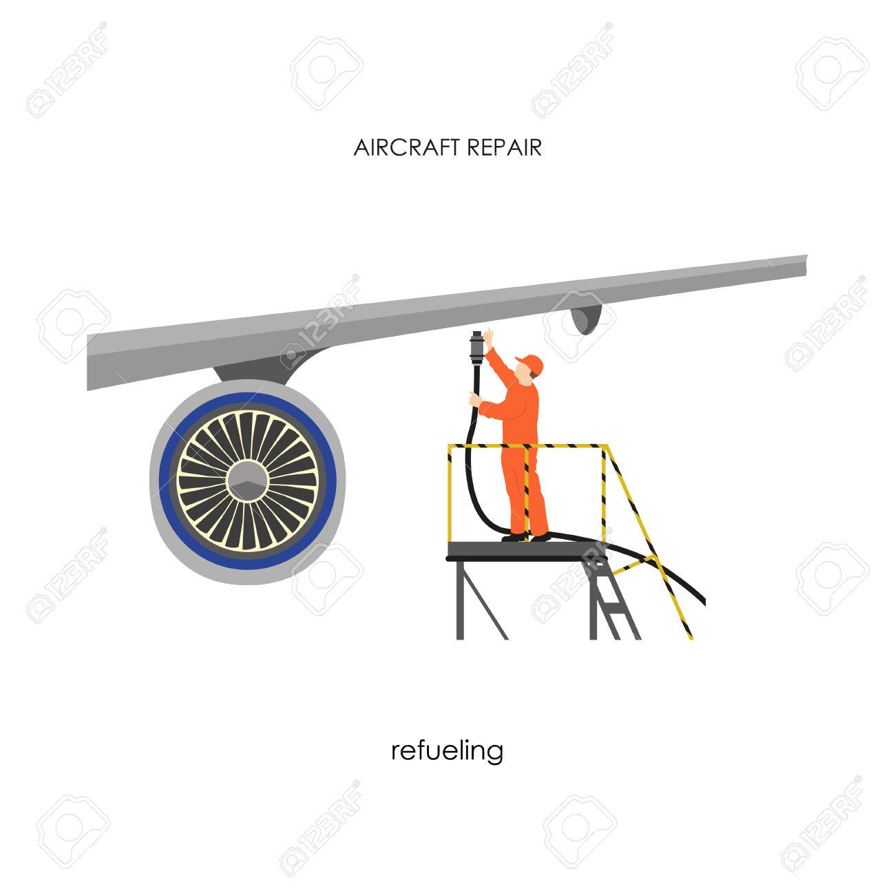 Repair And Maintenance Aircraft. Man Refueling Airplane. Vector.