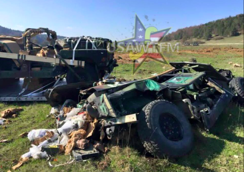Humvees failed airdrop : videos.