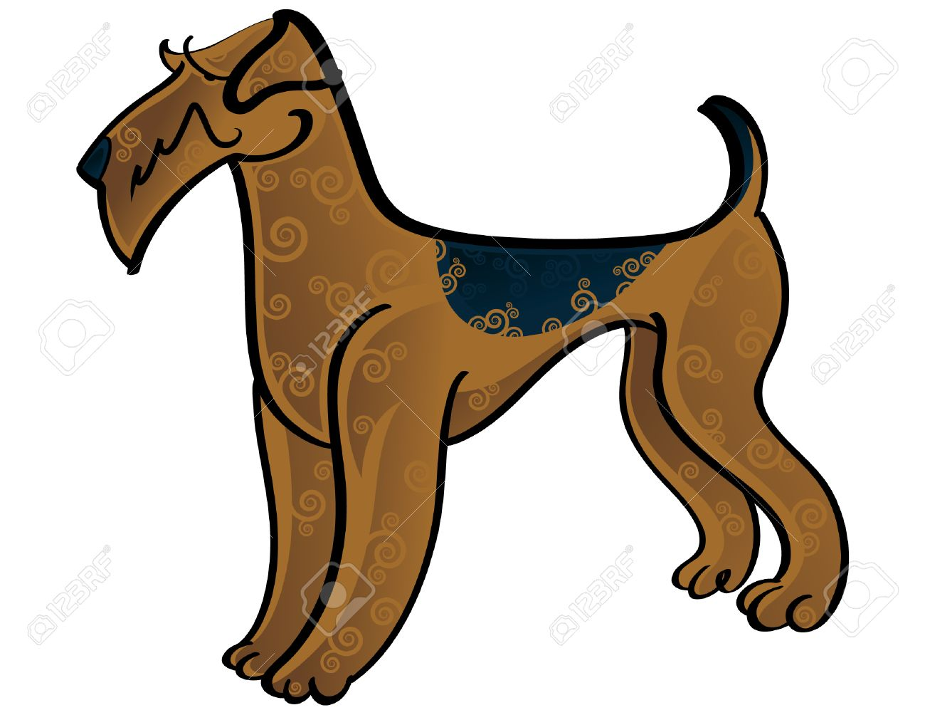 Colorful Vector Illustration Of The Dog Airedale Terrier Royalty.