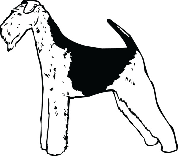 Airedale Black White Dog Clip Art For Pet Engraved Products.