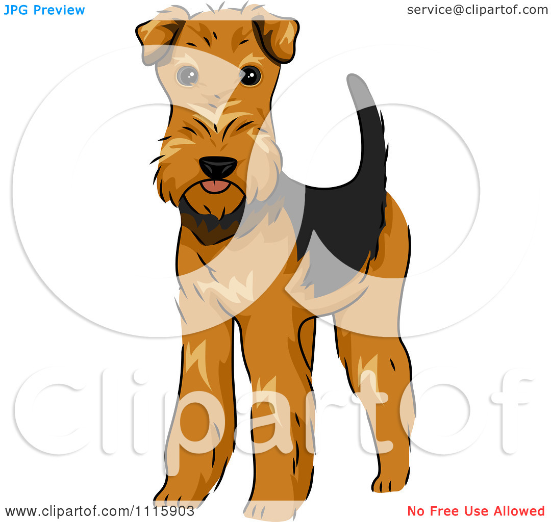 Clipart Cute Airedale Terrier Dog.