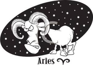 Art Image: Black and White Angry Aires the Ram.