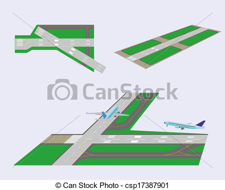 Vector Clipart of Set runways.