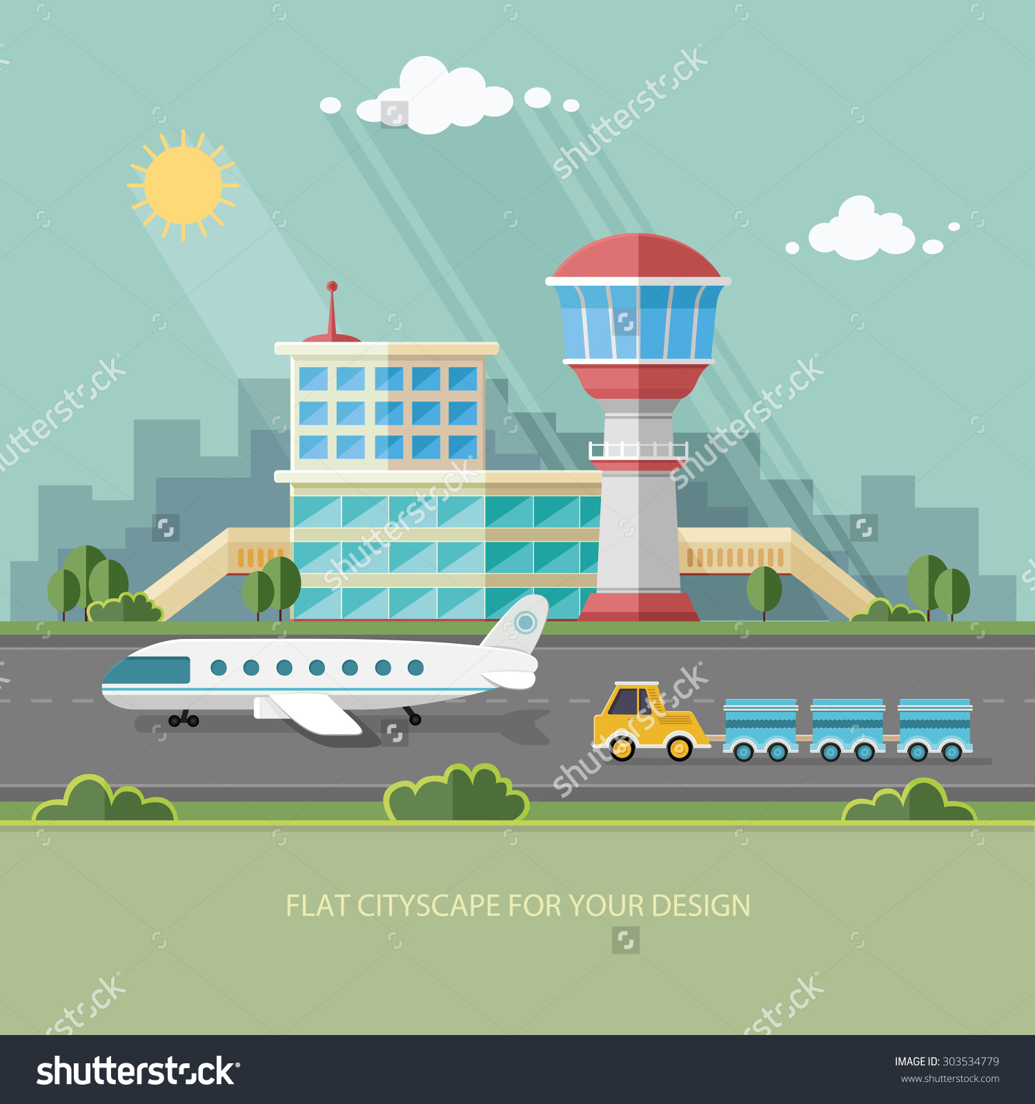 Airport Landscape Travel Lifestyle Concept Planning Stock Vector.