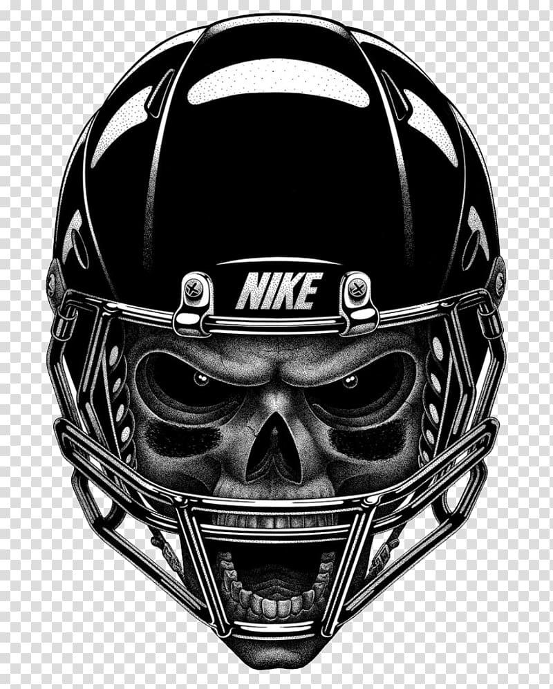 Gray skull wearing black Nike football helmet illustration.