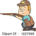 Cartoon of a Hunter Man Holding a Rifle.