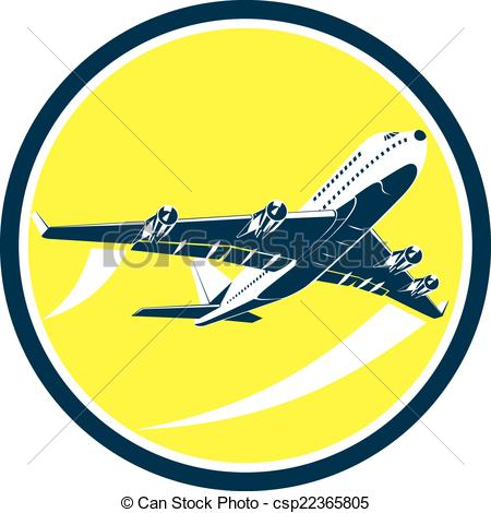 Vector Clipart of Commercial Jet Plane Airline Circle Retro.