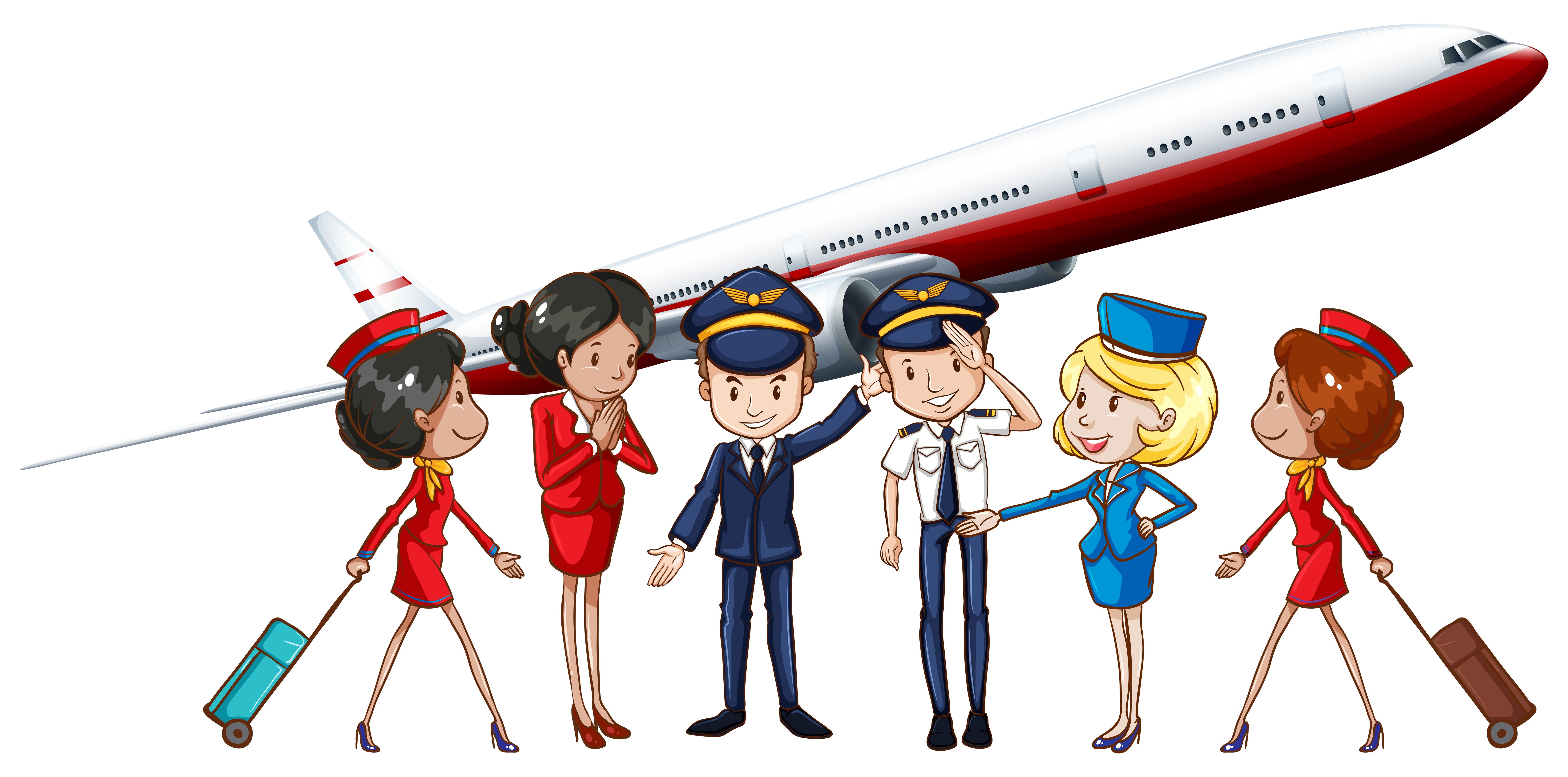 Flight Crew Free Vector Art.