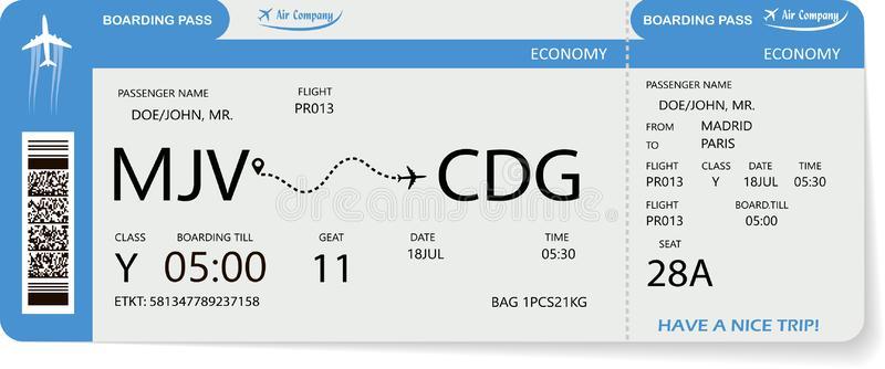 Flight Ticket Stock Illustrations.
