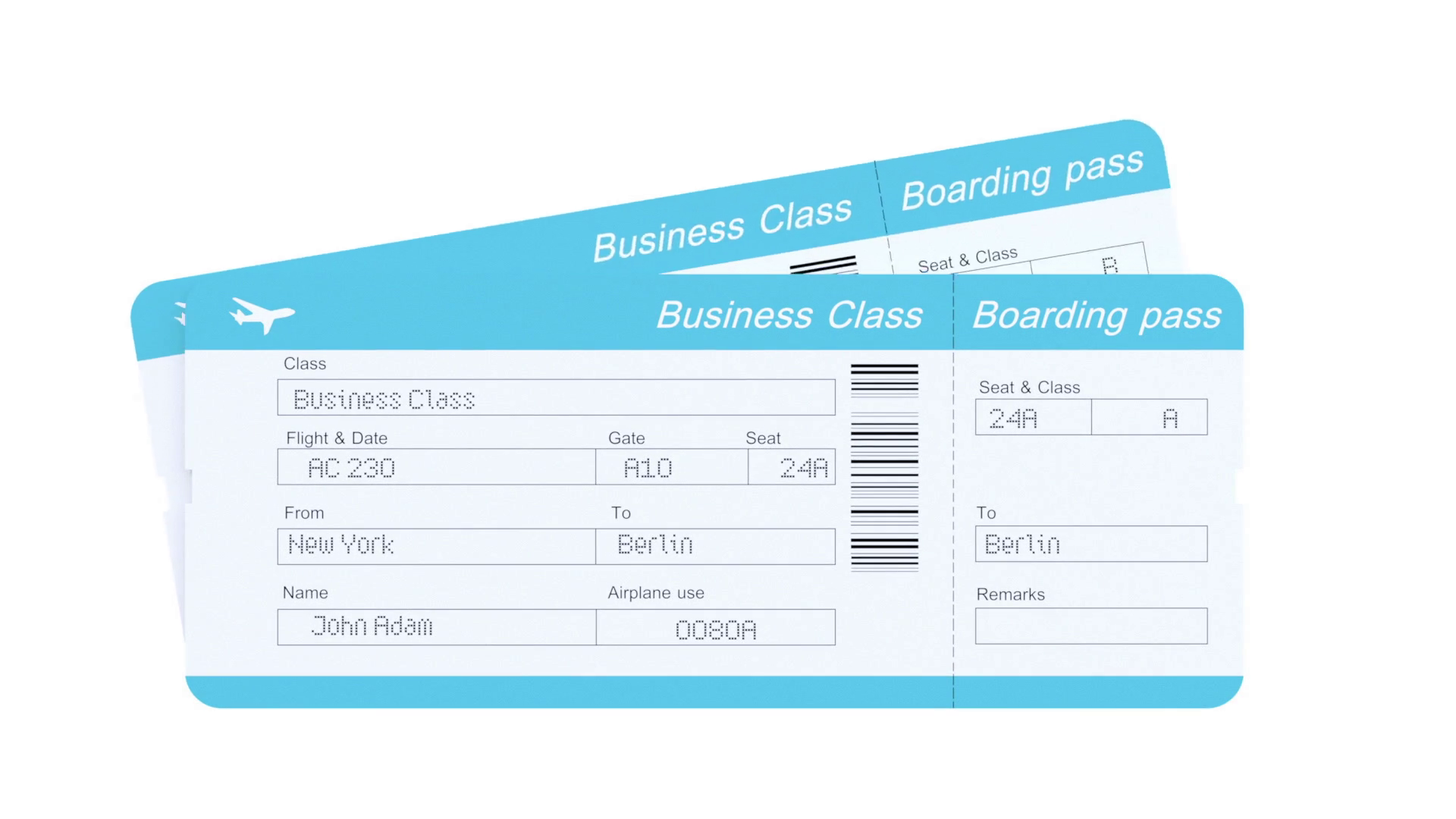 Economy Class, Business Class and First Class Airline tickets Motion  Background.