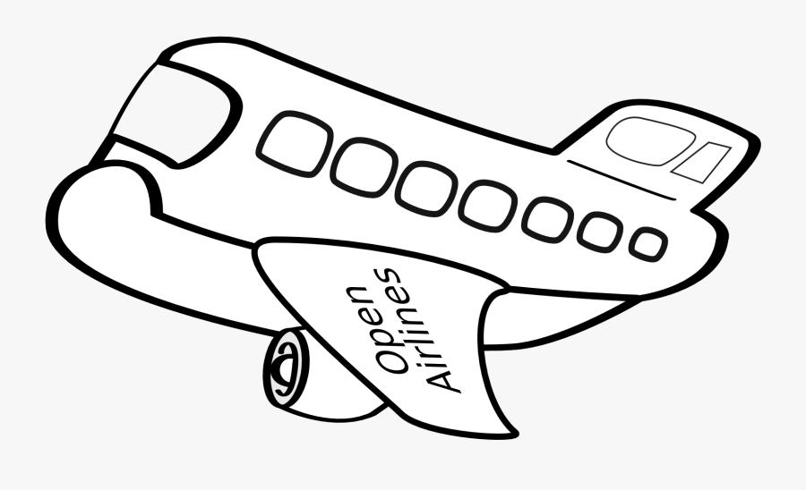 Aereo Passeggeri Funny Airplane Black White Line Art.