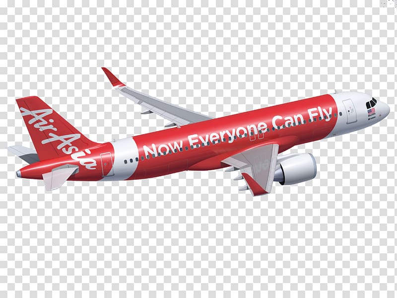 Red and white Air Asia passenger plane, Kochi Flight.