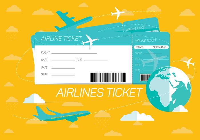 Airlines Ticket Vector Background.