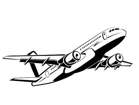 Airplane, plane on takeoff, passenger plane in monochrome.