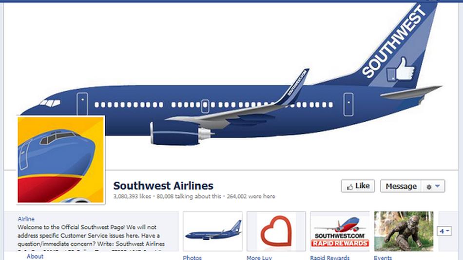 Southwest Offering 50% Off Flights on Facebook.