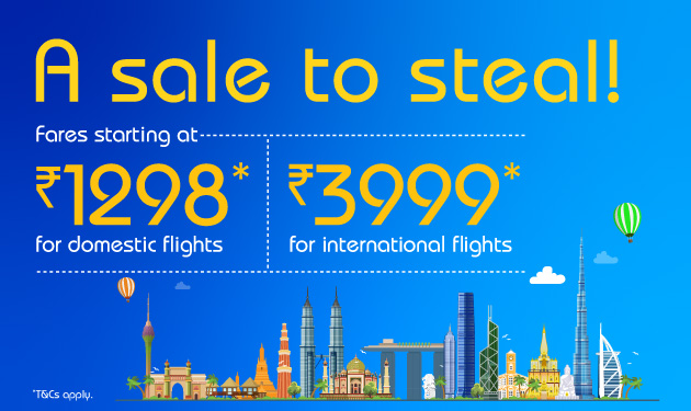 A sale to steal! Fares starting at just ₹1298*.