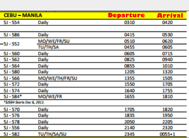Cebu Pacific Air Manila to Cebu Daily Flight Schedule.