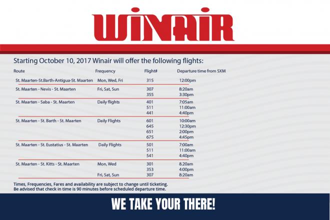 Winair's flight schedule commencing October 10.