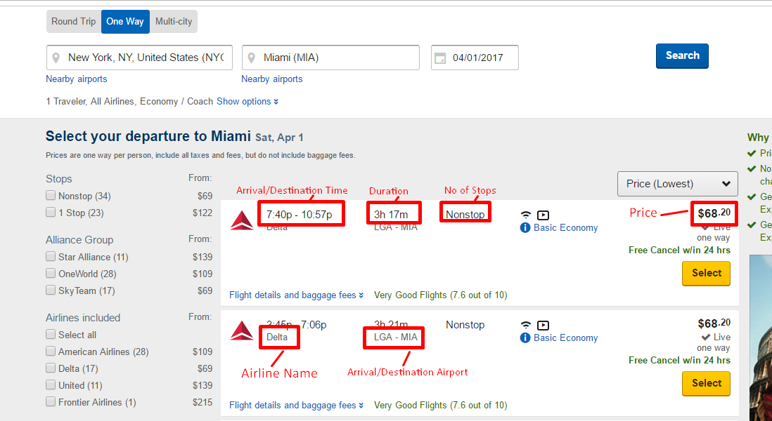 How to Scrape Flight Schedules and Prices from Expedia.com using.