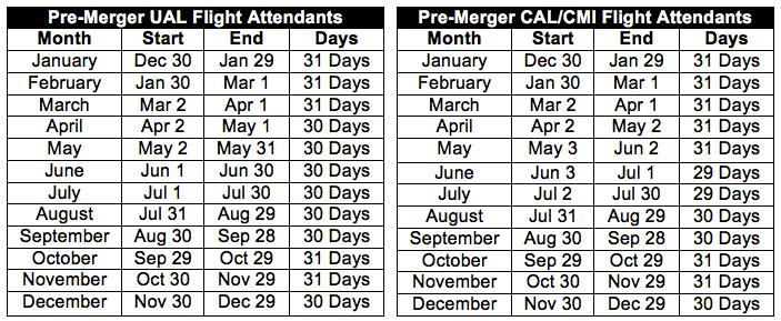 2017 Flight Attendant Schedule Months.