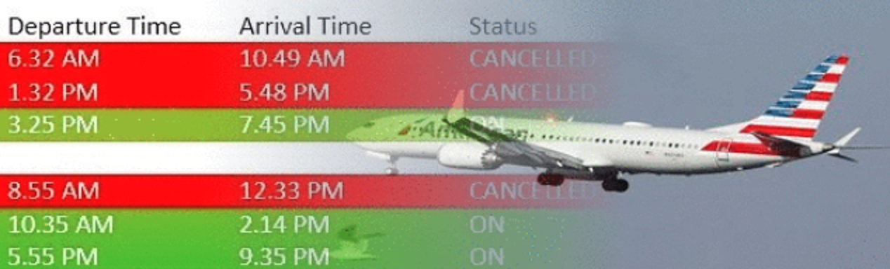 Three more American Airlines flights cancelled today.
