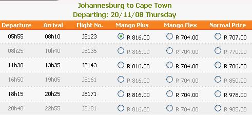 Book Mango flights at lower than their standard price.