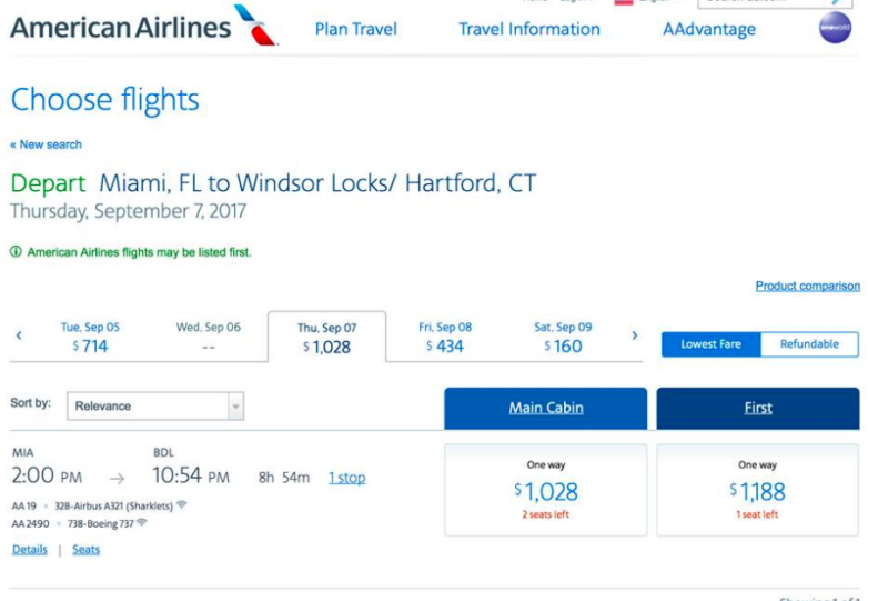 Airfare prices in path of Hurricane Irma.
