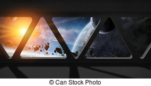 Clipart of Space station window interior.